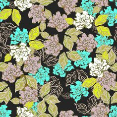 Retro gardenia tossed  fabric by art_is_us on Spoonflower - custom fabric