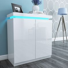 High Gloss White Shoe Storage Cabinet in High Gloss with LED Lighting - Tiffany Range Shoe Storage Cupboard, Shoe Cabinet, Locker Storage, Cabinet Decor, Cabinet Ideas, Cabinet Design, Gazebo On Deck, Sideboard Furniture, Space Interiors
