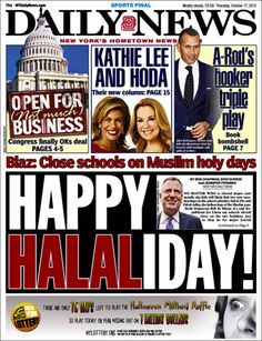 """HAPPY HALALIDAY"" on the Daily News, with ""HALAL"" in red"