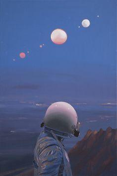 """트위터의 드림팩토리 그림공부봇 님: """"우주비행사와 꿈같은 세상을 표현하는 화가 Scott Listfield의 작품 출처:https://t.co/kNpBj6iFKe https://t.co/ETVLYx0kre"""""""