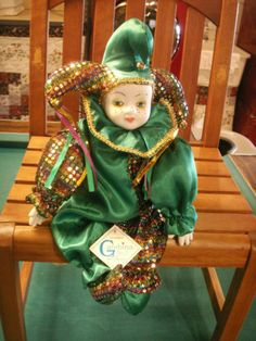 Original Gambina Jester Doll Clown Green Sequins Colorful Porcelain | eBay adorable...