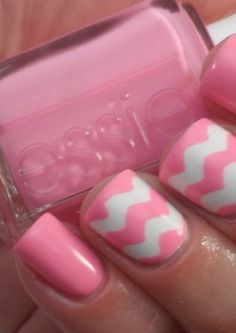 Essie Pink and White Nails -  I don't  typically like all the crazy nail trends, but this I love <3 and will totally do with mine and Peyton's nails