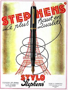 """By Cesar, 1 9 4 6, Stylo Stephen's,  advertisment page from famed publication """"L'Illustration""""."""