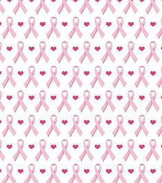 Snuggle Flannel Fabric - Breast Cancer Awareness Ribbons & Hearts