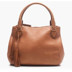 J.Crew Large Peyton Satchel (420 CAD) ❤ liked on Polyvore featuring bags, handbags, brown satchel handbags, leather satchel purse, leather satchel, brown satchel purse and j.crew