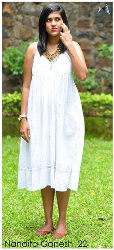 All things seen on Nandita Ganesh from Mumbai are bought from her recent trip to Sri Lanka. Ganesh, Real People, Sri Lanka, Mumbai, All Things, White Dress, India, Street Style, Summer Dresses
