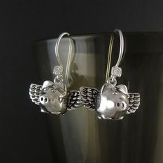 Flying Pig Earrings Antique Silver Flying Pigs - Pigs Can Fly