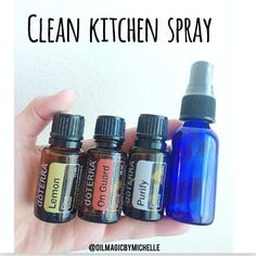 My favorite spray of all time!! My kitchen always smells and feels so clean!! 10 drops each lemon, onguard, and purify in a glass spray bottle and fill with water.. Shake and spray counter tops and wipe!! I also had a few sprays in the air Talk about an all purpose natural cleaning spray!!! It's a must have!!