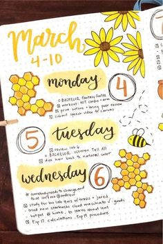 Bee Themed Bullet Journal Spreads For 2020 - Crazy Laura - The ultimate collection of bee themed bullet journal layout ideas and spreads for inspiration! Bullet Journal Weekly Spread, Bullet Journal Spreads, April Bullet Journal, Bullet Journal Notebook, Bullet Journal School, Bullet Journal Themes, Bullet Journal Inspo, Bullet Journal Layout, Bujo