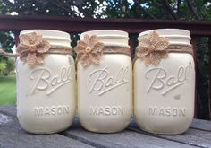 "Chalk Painted Mason Jars. Annie Sloan's ""Old White"". Perfect centerpiece for all occasions.  by JenmarksCraftyShop on Etsy"