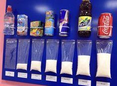 Qual a quantidade de açúcar em cada alimento?