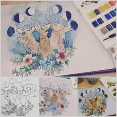 Finished my watercolour painting :) #tattoo #painting #design #artwork #wicca #spirit #spiritual #boho #gypsy #hippy #deer #trippy #moon #magical #creative #windsorandnewton #watercolour #painting #graphicdesign #moonphases #night #nature #inspiration #mystic #stag #deertattoo #tattoos #inkspiration #ink