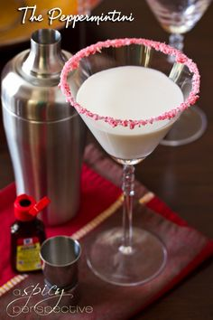 The Peppermintini perfect for the Holiday Season!   4 peppermint candy canes   3 Tb. sugar + 2 Tb. water   4 ounces white chocolate liqueur   2 ounces vanilla vodka   2 ounces half-and-half   1/4 teaspoon McCormick® Pure Peppermint Extract   Click for full recipe!