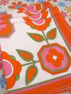 Vintage 1970s Flower Napkins by Pommedejour on Etsy