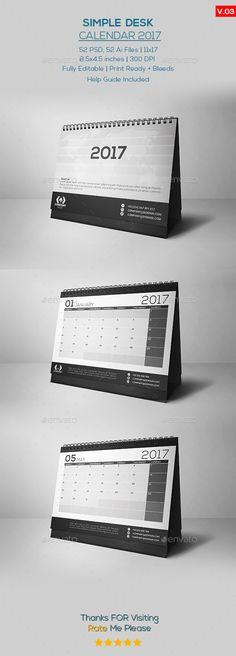 Simple Desk Calendar 2017 Template PSD, AI Illustrator