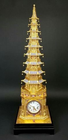 "Magnificent English Gilt Bronze and Jewelled Pagoda Clock, Barometer, & Thermostat, Imperial Court Style. For the Chinese Qing. Measures H: 52"" W: 19"" D: 17"". Mantel Clocks, Old Clocks, Antique Clocks, Retro Clock, Sundial, Fine Furniture, Ticks, Hourglass, Qigong"