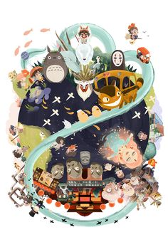 Miyazaki World is a flowing composition featuring some of Hayao Miyazaki's  most memorable films and characters. This piece features scenes from: My  Neighbor Totoro (1988), Kiki's Delivery Service (1989), Princess Mononoke  (1997), Spirited Away (2001), Howl's Moving Castle (2004), Ponyo (2008)