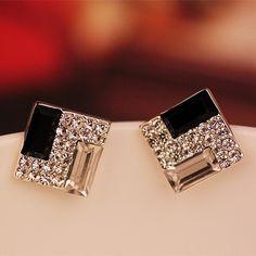 ER251 Koreaanse mode wilde OL elegante zwart-wit vierkante kristallen oorbellen voor Vrouwen sieraden