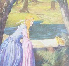 The Frog King Vintage Childrens Book Illustration by MoreLooseEnds, $2.50