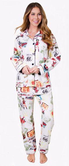 85f895b70d PJ Salvage Fantastic Flannels Route 66 Pajama Set Size S Natural REROPJ   PJSalvage  PajamaSets