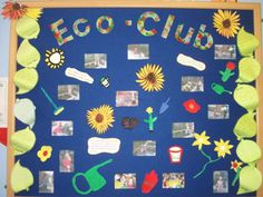 A beautiful idea from Christ Church School using our Sundeala Notice Board with Felt Backing. This Eco-Club display is backed with ouir blue felt and a pine frame. Display Boards For School, School Displays, Classroom Displays, Eco Garden, Garden Crafts, Team Bulletin Board, Eco Kids, Earth Day Projects, Green School