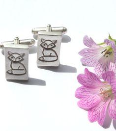 Fox cufflinks, handmade cufflinks, sterling silver cufflinks, fox accessories, cufflinks silver, silver fox cufflinks