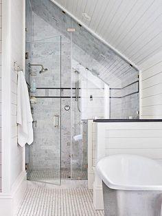 Bathroom Shower Design Ideas Bathroom Under Sloped Roof Attic Remodel Low Cei. Bathroom Shower Design Ideas Bathroom Under Sloped Roof Attic Remodel Low Ceiling Loft Bathroom Small Attic Bathroom, Loft Bathroom, Upstairs Bathrooms, Bathroom Renos, Master Bathroom, Bathroom Mirrors, Sloped Ceiling Bathroom, Bathroom Cabinets, Bathroom Faucets