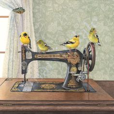 Singers(framed print from watercolour of goldfinch birds on an antique singer sewing machine by Cori Lee Marvin)