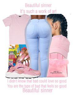 """""""Beautiful Sinner x Nicki Minaj"""" by juicyums ❤ liked on Polyvore featuring NIKE"""