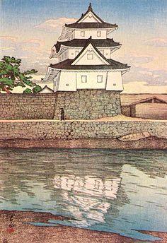 hanga gallery . . . torii gallery: Takamatsu Castle in Sanuki by Kawase Hasui