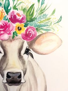 original watercolor print on card stock Lucy the Cow (Kristen A. Watercolor Animals, Watercolor Flowers, Watercolor Paintings, Cow Painting, Painting & Drawing, Cow Drawing, Art And Illustration, Arte Inspo, Bel Art