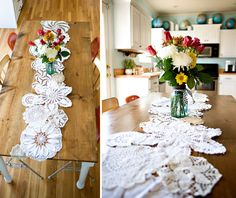 doily-table-runner - what a great way to freshen up something so classic