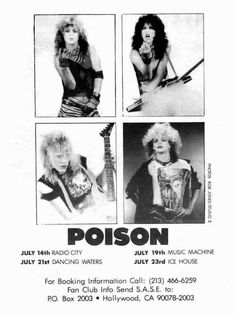 80s Metal Bands, 80 Bands, 80s Rock Bands, Poison Albums, Poison Rock Band, Bret Michaels Poison, Glam Metal, Glam Rock, Concert Posters