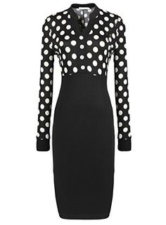 PAKULA Women's Business Long Sleeve Dots Print Patchwork Midi Dress PAKULA http://smile.amazon.com/dp/B00P3KAPMK/ref=cm_sw_r_pi_dp_KqCGvb1NZARCR