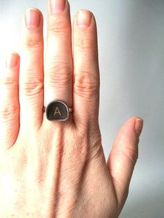 vintage letter A typewriter key ring black by RecycleBuyVintage, $16.00