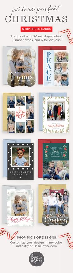 Stand out from the crowd with customizable Christmas cards from Basic Invite. Choose from 70 envelope colors, 5 paper types and 6 different foil options.