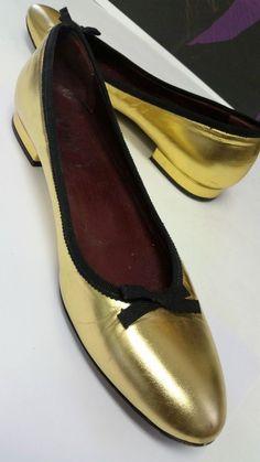 a039aa4a2b2 NICE Prada Gold Metallic Leather Ballet Ballerina Bow Logo Flats 7 37  ( 550)