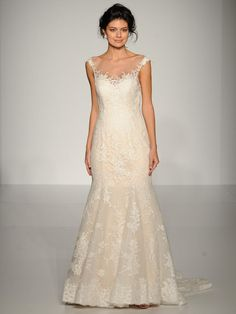 Maggie Sottero lace applique trumpet wedding dress with illusion neckline