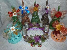 vianočne pletenie.. stromčeky, zvončeky, venček..