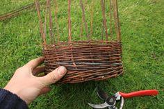 Weaving a wicker basket
