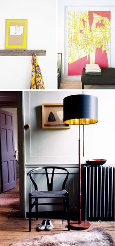 love the bright color mixed with black (esp love that lamp!)