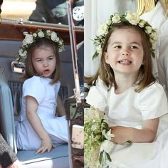 Princess Charlotte as a bridesmaid during The Duke and Duchess of Sussex wedding!! She's so cute come on!