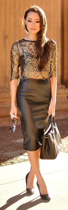 Gorgeous leather pencil skirt with a sheer gold lace top! The Midas Touch By Hapa Time Women's fashion clothing outfit Fashion Mode, Look Fashion, Street Fashion, Fashion Trends, Fashion 2015, Latest Fashion, Fashion Ideas, Winter Fashion, Women's Dresses