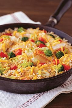 Prepare a Cheddar Chicken and Rice Skillet for a fast and simple meal ...