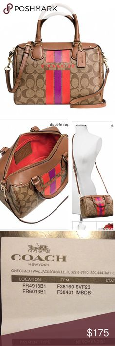 """New with tags Coach mini satchel 100% authentic coach canvas. Inside zip, cell phone and multifunction pockets. Zip-top closure, fabric lining. Handles with 4"""" drop. Longer strap with 23"""" drop for shoulder or crossbody wear. 9"""" L., 6 1/2"""" H., 5"""" W. Coach Bags Satchels"""
