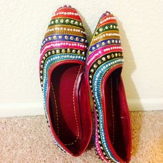 One Hour Sale ❗️ Bling Colorful Embroidered Shoes New Collection! Medley of beautiful colors and bling. Complete thread work. Detailed embroidery and sparkly bling all over. Tend to expand a bit after 3-4 wears.Super Comfy!  In India, we call these 'jutti'. India collection.   ✅ Price firm unless bundled ✅ 15% off bundles  No Paypal  No Trades Shoes