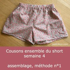 Let's sew short boxer shorts – week assembly, method n ° 1 And voila, finished shorts! Sewing Shorts, Diy Shorts, Sewing Clothes, Diy Clothes, Gym Shorts Womens, Baby Couture, Couture Sewing, Girl Dress Patterns, Blouse Patterns