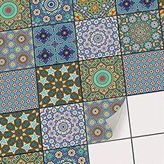 Lot de 4 Stickers Carrelage Dimensions dun Sticker : 10 x 10 cm Carreaux de Ciment Royal