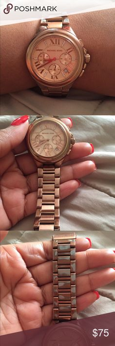 Beautiful used rose gold MK watch. Beautiful used rose gold MK watch. Some of the rose gold is rubbed off in places on one side. Some scratches on dial. Can be cleaned up with watch cleaner. Great for the bling effect with stone💎 detailing. Need new battery. Accessories Watches