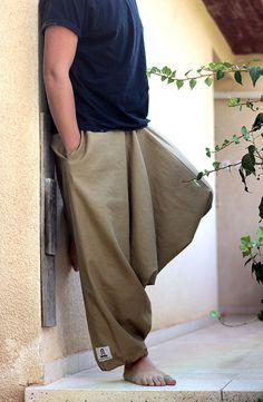 Long Men's Harem pants with pockets. Drop Crotch Loose by lunalin